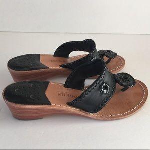 Jack Rogers Classic Wedge Black Sandals Size 6 M